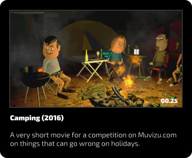 Camping (2016)  A very short movie for a competition on Muvizu.com on things that can go wrong on holidays. 00.25