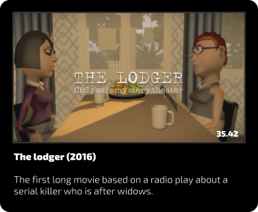 The lodger (2016)  The first long movie based on a radio play about a serial killer who is after widows. 35.42