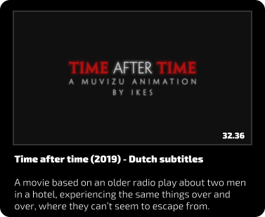 Time after time (2019) - Dutch subtitles  A movie based on an older radio play about two men in a hotel, experiencing the same things over and over, where they can't seem to escape from. 32.36